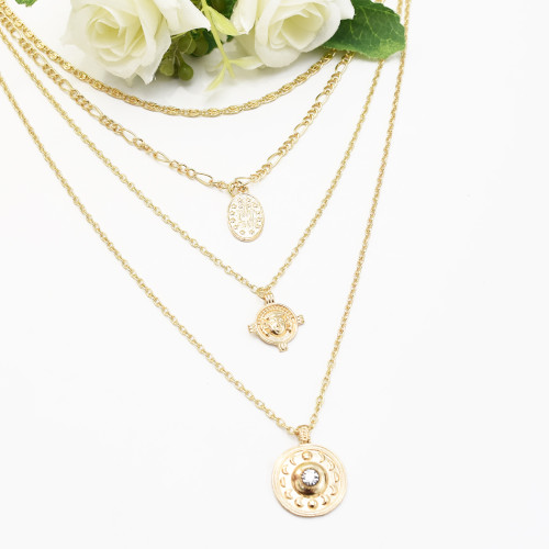 N-7289 Summer Beach Multi-layers Gold Chain Shell Pendant Necklaces for Women Boho Summer Beach Jewelry
