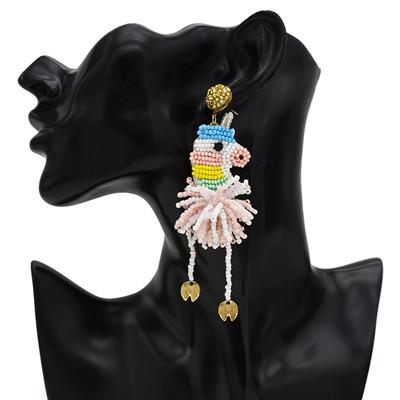 E-5441 Rice Beads Animal Earrings Cute Party Tassel Earrings