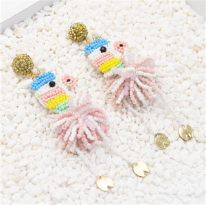 E-5441 Rice Beads Animal Earrings Cute Party Tassel Earrings