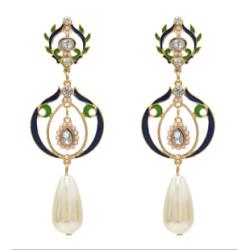 E-5444 Fashion Bridal Pearl Rhinestone Drop Earrings for Women Wedding Party Jewelry