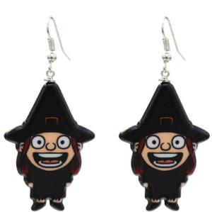 E-5445 4 Styles Black Acrylic Skull Drop Earrings for Women Halloween Party Jewelry Gift
