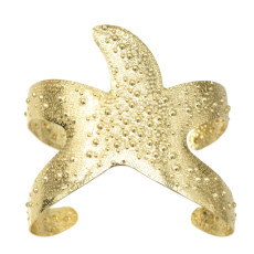 B-0989 New Fashion Gold Silver Metal Starfish Open Cuff Bangles For Women Summer Party Jewelry Gift
