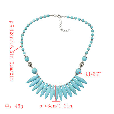 N-7290 Fashion Bohemian Retro Turquoise Necklace Personalized Jewelry