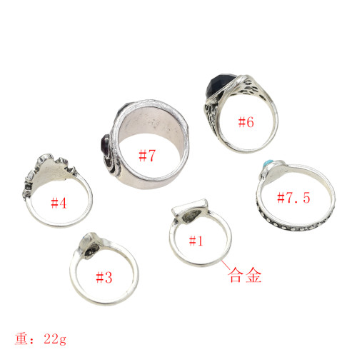R-1513 6pcs/set New fashion Silver Plated Rhinestone Beads Midi Finger Ring Sets  Ethnic Women Girls Rings