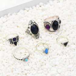 R-1513 6pcs/set New fashion Silver Plated Rhinestone Beads Midi Finger Ring Sets  Ethnic Women Girls Rings