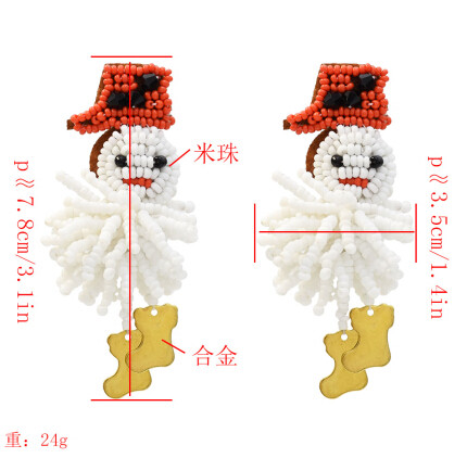 E-5448 Handmade Snowman Resin Beaded Drop Earrings for Women Girl Statement Jewelry Christmas Gift