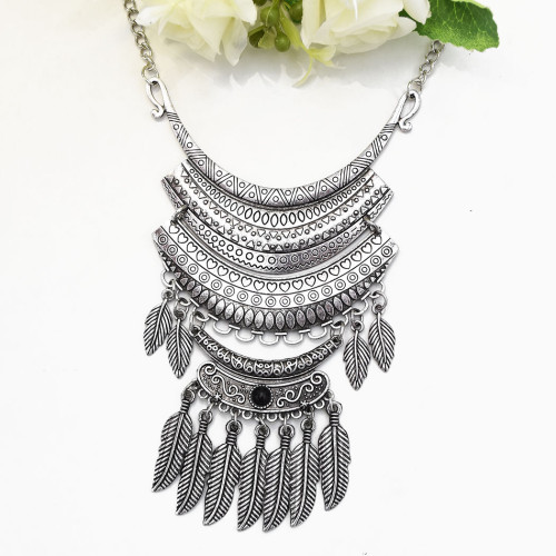 N-7293 Vintage Silver Leaf Beaded Statement Necklaces for Women Party Jewelry