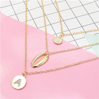N-7295 Golden Fashion Multi-layer Shell Pendant Seaside Holiday Style Diamond Necklace
