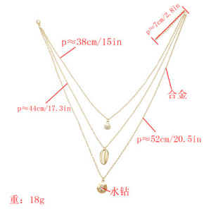 N-7295 Golden Fashion Multi-layer Shell Pendant Seaside Holiday Style Diamond Necklace