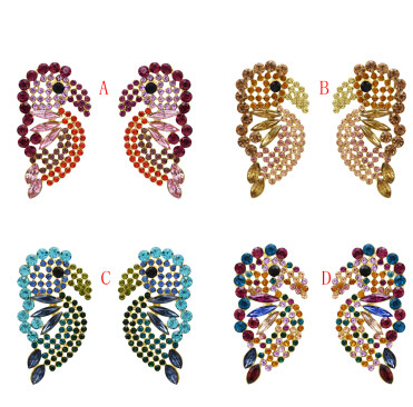 E-5452 4 Colors Cute Big Bird Shape Crystal Drop Earrings For Women Girl Party Jewelry Gift