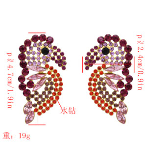 E-5452 4 Colors Cute Big Bird Shape Crystal Drop Earrings For Women Girl Party Jewelry Gift