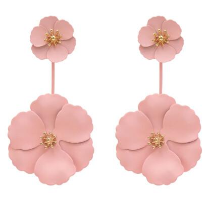 E-5456 6 Colors Elegant Women Metal Flower Drop Dangle Earrings Bridal Wedding Party Jewelry Gift