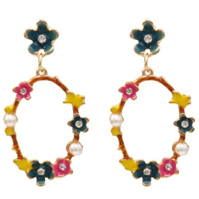 E-5454 Fashion Girl Gold Metal Flower Pearl Rhinestone Drop Earrings for Women Wedding Party Jewelry