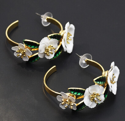 E-5459 Elegant Gold Metal Rhinestone Flower Hoop Earrings for Women Bridal Wedding Party Jewelry Gift