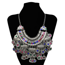 N-7296 New Fashion Coin Color Rinestone Crystal Statement Necklace Earring Bracelet  Jewelry Sets For Women Bridal Party Jewelry
