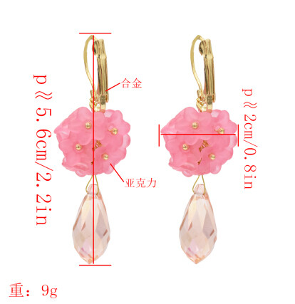 E-5461 4 Colors Fashion Acrylic Flower Drop Earrings for Women Bridal Wedding Party Jewelry Gift