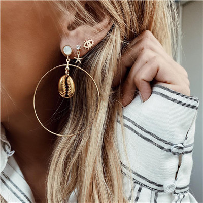 E-5460 Fashion Big Round Drop Dangle Earring Shell Shape Earring Set