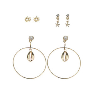 E-5460 Fashion Big Round Drop Dangle Earring Shell Shape Earring Set