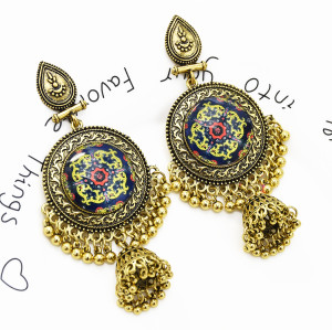 E-5464 Gypsy Chandelier-shaped earrings Bohemian water drops carved tassel earrings