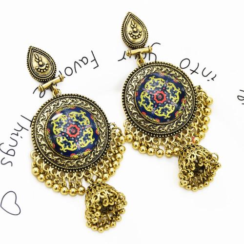 E-5464 Gypsy Chandelier-shaped earrings Bohemian water drops carved tassel earrings