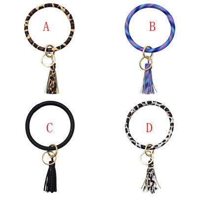 B-0990 Wristlet Keychain Bracelet Bangle Keyring Circle Key Ring Leather Tassel Bracelet Holder