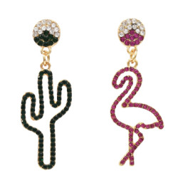 E-5465 Fashion Bird Cactus Crystal Rhinestone Dangle Drop Earrings Women Girl Jewelry Vacation Gift