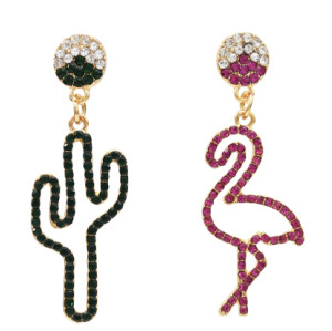 E-5465 Fashion Bird Cactus Crystal Rhinestone Dangle Drop Earrings Women Girl Jewelry Vacation Gift
