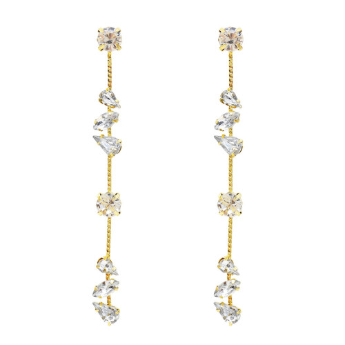E-5468 Korean Romantic New Long Crystal Tassel Water Drop Earrings for Women Wedding Drop Earing Fashion Jewelry Gifts