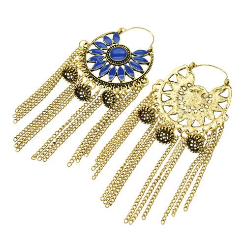 E-5469 Gypsy Chandelier-shaped Openwork Flower Earrings Bohemian Water Drops Carved Tassel Earrings