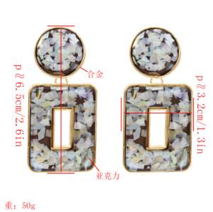 E-5472 5 Colors Bohemian Puka Shell Acrylic Big Geometric Drop Earrings for Women Wedding Party Jewelry
