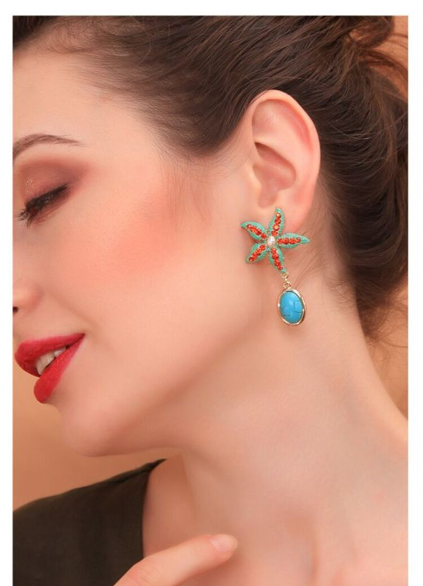 E-5463 Summer Starfish Rhinestone Pearl Drop Dangle Earrings for Women Boho Party Jewelry