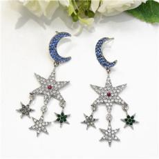 E-5471  2 Colors Rhinestone Star Moon Elegant Temperament Drop Dangle Earrings