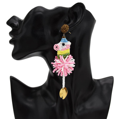 E-5473 Hot Sell Fashion jewelry Lovely Rice Beads Animal Horse Earrings Cute Party Tassel Earrings For Women Girls Gift