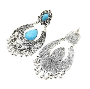 E-5476 Boho Vintage Indian Jhumka Big Bells Tassel Drop Earrings for Women Ethnic Flower Carved Statement Earring Jewelry 2019