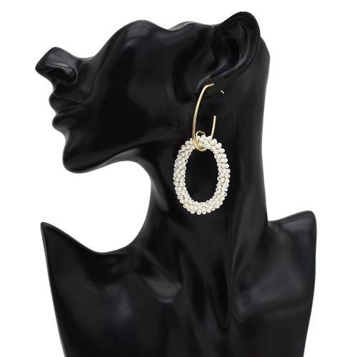 E-5477 Bohemian Colorful Beads Hoop Earrings for Women Big Circle Round Drop Earrings