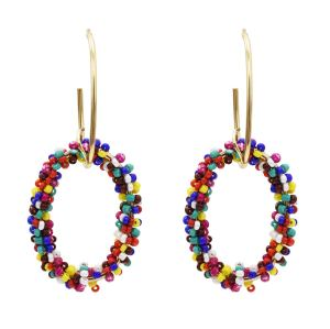 E-5477 Bohemian Colorful Beads Hoop Earrings for Women Big Circle Round Drop Earrings
