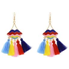 E-5479 Thread Tassel Earrings for Women Ethnic Bohemian Style Enamel Lip Hook Dangle Earring