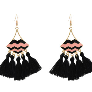 E-5479 Thread Tassel Earrings for Women Ethnic Bohemian Style Enamel Lip Hook Dangle Earring
