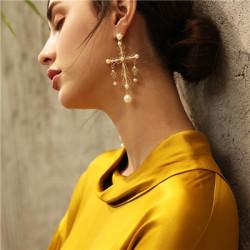 E-5478 Golden Openwork Cross Pearl Earrings Wedding Earring