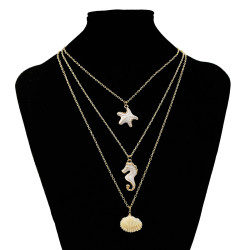 N-7302 Layered Necklace Starfish Seahorse Shell Pendant Necklace Bar Y Pendant Necklace for Women