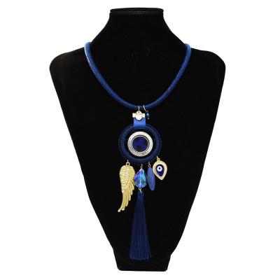 N-7301 Dream Catcher Necklace Earrings Jewelry Sets Angel Wings Devil's Eye Thread Tassel Choker For Women