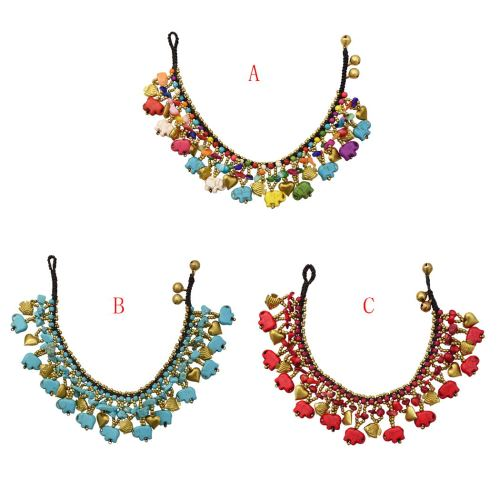 B-0991 Heart Fish Elephant Beads Multilayers Turquoise Bracelet Or Anklet Women Ethnic Handmade Bell Jewelry