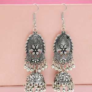 E-5482 Vintage Silver Metal Carved Flower Bells Tassel Drop Earrings for Women Indian Party Jewelry