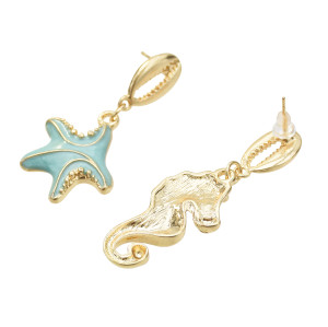 E-5485 Fashion Marine Style Starfish Color Sea Shell Earrings Female Wedding Party Jewelry