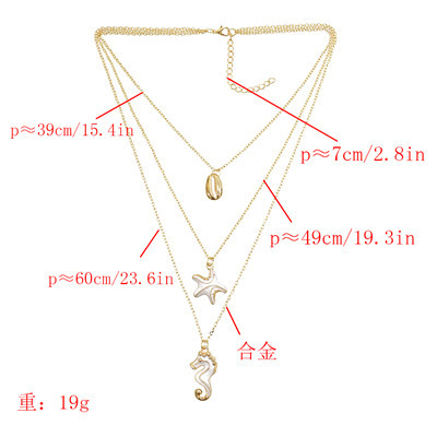N-7304 Multi-Layer Layered Necklace Starfish Seahorse Shell Pendant Necklace for Woman