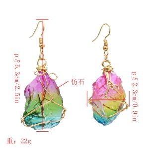 E-5486 Fashion Natural Stone Irregular Shape Blue Amethysts Quartz Crystal Stone Pendant Earring
