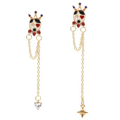 E-5487 Cute Crown Heart Star Rhinestone Long Tassel Drop Earrings for Women Girl Party Jewelry