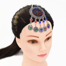 F-0686 Turkish Silver Gold Metal Beaded Coin Tassel Charm Head Chains For Women Boho Belly Dance Gypsy India Tribal Bridal Hair Jewelry