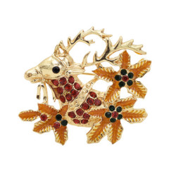 P-0444 2 Styles Golden Rhinestone Christmas Deer Female Angel Brooch Christmas Accessories Brooch