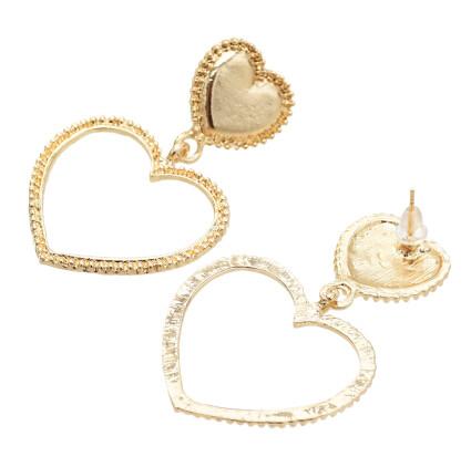 E-5491 Double Heart Shape Drop Earrings for Women Lady Wedding Party Gold Plated Jewelry